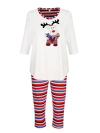 Schlafanzug mit garngefärbter Hose im Ringeldessin