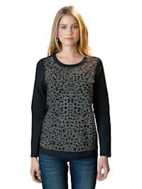 Sweatshirt mit Glitzersteinen im Vorderteil