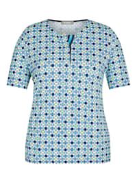 Shirt mit gepunktetem Muster und kurzen Ärmeln
