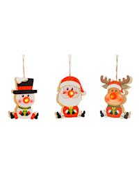 3tlg. Set Weihnachtshänger mit Beleuchtung