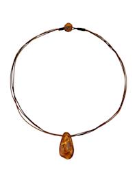 Collier avec pendentif en ambre