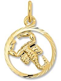 Damen Schmuck Sternzeichen Anhänger Skorpion aus 333 Gelbgold
