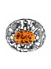 Brosche - Fischland 43x35 mm - Silber 925/000 - Bernstein