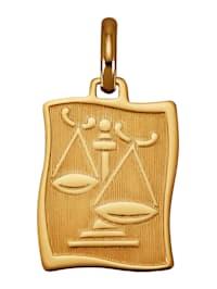 """Pendentif avec signe du zodiaque """"Balance"""" en or jaune 585"""