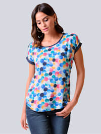Shirt van een mooie materialenmix