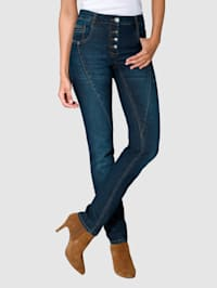 Jeans in Laura Slim model met contrastkleurige naden