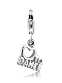"Charm ""Love To Dance"" Wording Herz 925 Sterling Silber"