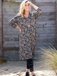 Jersey jurk met diepe stolpplooi