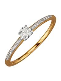Damenring mit Brillant und Diamanten