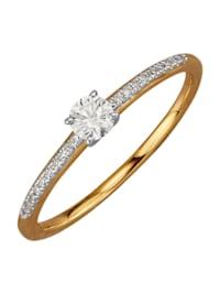 Damesring met briljant en diamanten