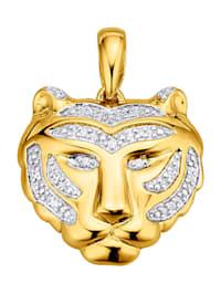 Pendentif -Tête de tigre- en argent 925, doré