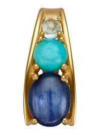 Pendentif clip avec kyanite, amazonite et topaze bleue