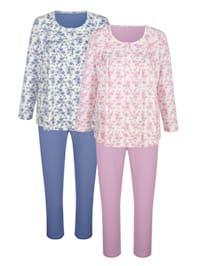 Pyjamas i 2-pack med rynk framtill