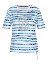 Shirt mit geringeltem Muster und Tunnelzug