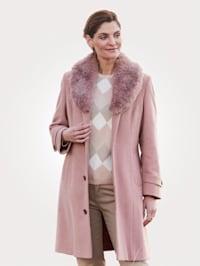 Wollen mantel met opvallende sjaalkraag