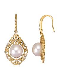Boucles d'oreilles avec perles de culture d'eau douce et topazes blanches