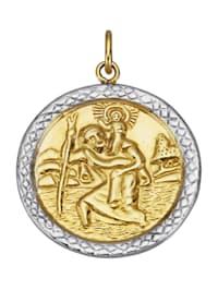 Christophorus-Anhänger in Gelbgold 375