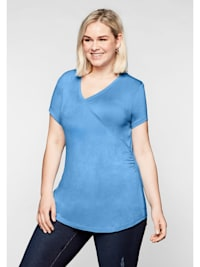 Sheego T-Shirt mit Wickeleffekt und seitlicher Kräuselung