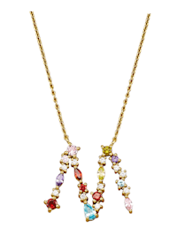 Collier Letter M met multicolor synth. zirkonia's