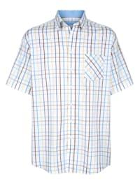 Skjorte med garnfarget rutemønster