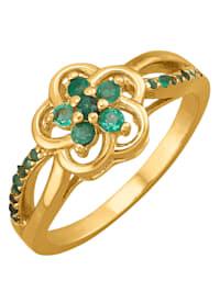 Blumen-Ring mit Smaragden
