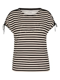 Shirt mit geringeltem Allover-Muster und Bindebändern
