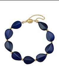 Armband med blå bärnsten (beh.) och pyrit