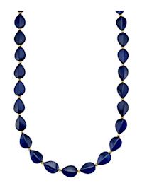 Collier en ambre avec ambre bleu (trait.) et pyrite