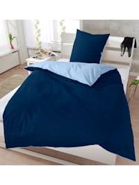 Soft-Seersucker Uni Wendebettwäsche marine/bleu