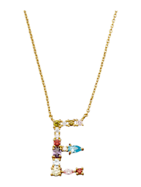 Collier Letter E met multicolor synth. zirkonia's