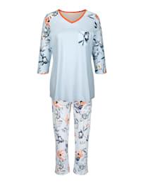 Pyjama met leuke contrastkleurige paspel aan de hals
