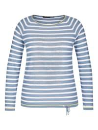 Pullover mit Ringelmuster und Ziersteinen
