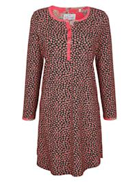 Nachthemd mit langer kontrastfarbener Knopfleiste