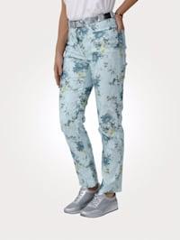 Pantalon à imprimé de fleurs