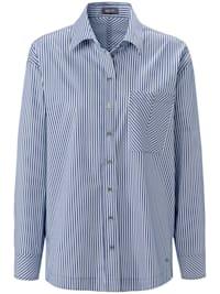 Hemdbluse mit allover Streifen und Brusttasche