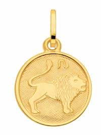 Damen & Herren Goldschmuck 333 Gold Sternzeichen Anhänger Löwe Ø 11,8 mm