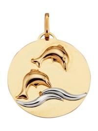 Delfin-Anhänger aus Gelbgold 585