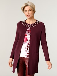 Longline cardigan with faux pearl detailing