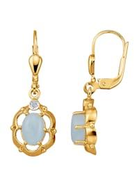 Ohrringe mit Milky-Aquamarinen und Diamanten