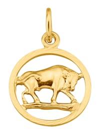 Sternzeichen-Anhänger Stier in Gelbgold 585