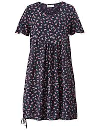 Jersey jurk met tunnelzoom en bindbandje aan de zoom