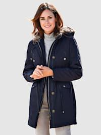Bunda s vyjímatelnou kapucí z imitace kožešiny