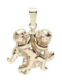 Anhänger - Tierkreiszeichen Zwillinge - Silber 925/000, vergoldet - ,