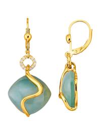 Boucles d'oreilles avec doublets aventurine-quartz