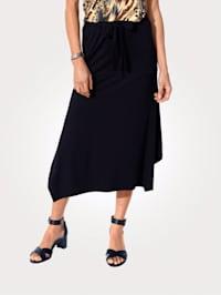 Jersey skirt with an asymmetric hem