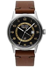Herrenuhr G38 GMT mit braunem Lederband