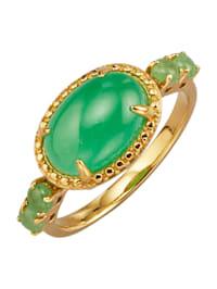 Bague en argent 925 doré, à pierres de jade à pierres de jade