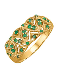 Naisten sormus smaragdeilla