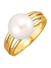 Bague avec perle de culture d'eau douce blanche forme bouton