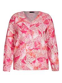 Bluse mit Allover-Print und V-Ausschnitt